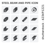 vector icon of steel pipe and... | Shutterstock .eps vector #623691221