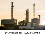 refinery plant area at sunrise... | Shutterstock . vector #623692955