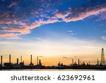 refinery plant area at sunrise... | Shutterstock . vector #623692961