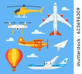 vector flat style set of... | Shutterstock .eps vector #623696309