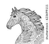 stylized hand drawn head horse... | Shutterstock .eps vector #623699111