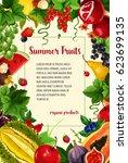 fruits and berries vector... | Shutterstock .eps vector #623699135