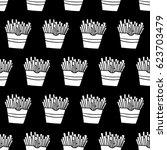 cartoon french fries pattern...   Shutterstock . vector #623703479