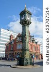 Small photo of England, Birmingham - April 10, 2017: Clock Monument B in Jewellery Quarter Birmingham Shallow Depth of Field