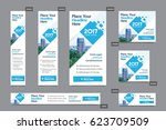 blue color scheme with city... | Shutterstock .eps vector #623709509