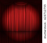 stage curtains with spot light... | Shutterstock .eps vector #623712755