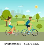 young woman and man ride the... | Shutterstock .eps vector #623716337