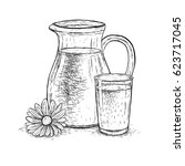 hand drawn milk jug and glass...   Shutterstock .eps vector #623717045