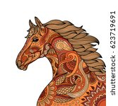 stylized hand drawn head horse... | Shutterstock .eps vector #623719691