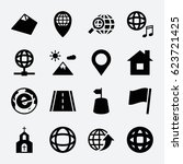 map icon. set of 16 map filled... | Shutterstock .eps vector #623721425