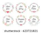 floral bridal shower frames | Shutterstock .eps vector #623721821