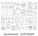 vector icons set of house... | Shutterstock .eps vector #623726369