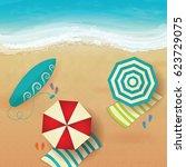 colorful summer beach vector...   Shutterstock .eps vector #623729075