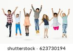 diverse group of kids jumping... | Shutterstock . vector #623730194