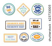 sale grunge rubber stamps set... | Shutterstock .eps vector #623733005