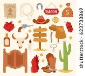 Wild West Cartoon Icons Set...