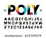 Vector of modern stylized colorful font and alphabet | Shutterstock vector #623749379