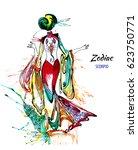 zodiac illustration of the... | Shutterstock . vector #623750771