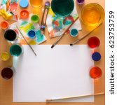 paper  paints  brush and some... | Shutterstock . vector #623753759