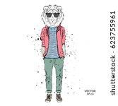 hipster dressed lion in jacket  ... | Shutterstock .eps vector #623755961