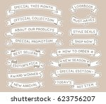 hand drawn ribbon banners set... | Shutterstock .eps vector #623756207
