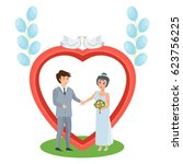 happy couples in love concept.... | Shutterstock .eps vector #623756225