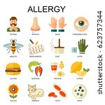 allergy symptoms vector flat... | Shutterstock .eps vector #623757344