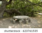 stone table and chairs  from... | Shutterstock . vector #623761535