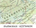 geographic map of turkmenistan...   Shutterstock . vector #623764634