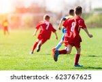 kids soccer football   young... | Shutterstock . vector #623767625
