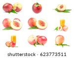 collection of ripe peaches on... | Shutterstock . vector #623773511
