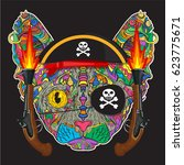 vector ornament face of pirate... | Shutterstock .eps vector #623775671