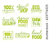 set of four organic food logo... | Shutterstock .eps vector #623776325