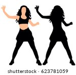 silhouette of a girl dancing a... | Shutterstock .eps vector #623781059