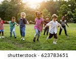 group of diverse kids playing... | Shutterstock . vector #623783651