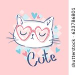 Cute Cat Sketch Vector...