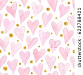 watercolor hearts seamless... | Shutterstock .eps vector #623788421