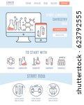 flat line illustration of... | Shutterstock .eps vector #623792555