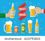 two hands holding the beer... | Shutterstock . vector #623792831