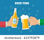 hands holding beer glass and... | Shutterstock . vector #623792879