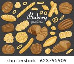 set of isolated colored bakery... | Shutterstock .eps vector #623795909