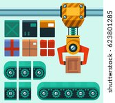 manipulator with conveyor and... | Shutterstock .eps vector #623801285