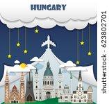 hungary travel background... | Shutterstock .eps vector #623802701