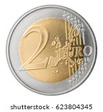 two euro coin isolated on white ... | Shutterstock . vector #623804345