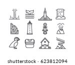 iceland icons.  main country...   Shutterstock .eps vector #623812094