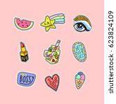 stickers cute fashion collection | Shutterstock .eps vector #623824109