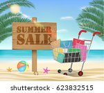 summer sale wood board and... | Shutterstock .eps vector #623832515