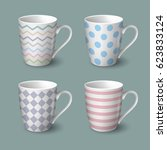 set of coffee cups with retro... | Shutterstock .eps vector #623833124