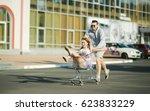 happy couple having fun outdoors | Shutterstock . vector #623833229