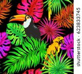 tropical leaves  parrot and...   Shutterstock .eps vector #623833745
